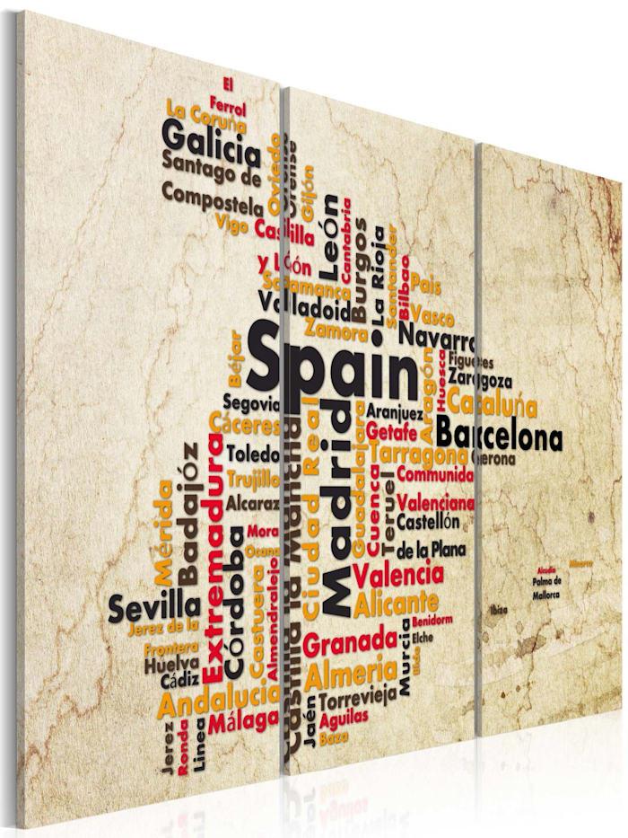 artgeist Wandbild Landkarte: spanische Städte - Triptychon, Grau,Rot,Schwarz,Creme,Orange