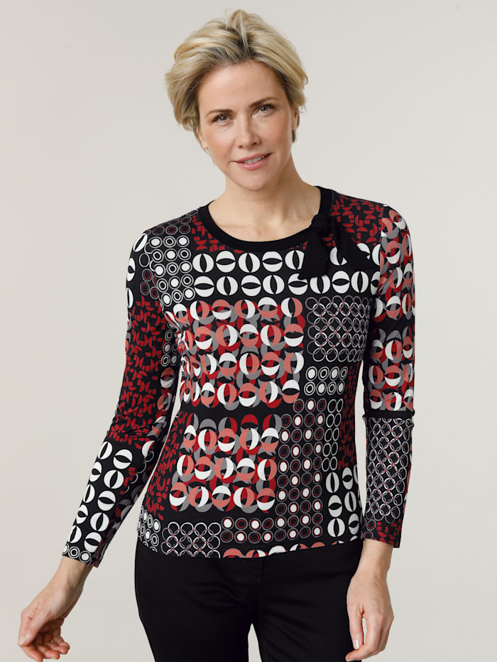 Barbara Lebek Shirt met grafisch dessin, Zwart/Rood