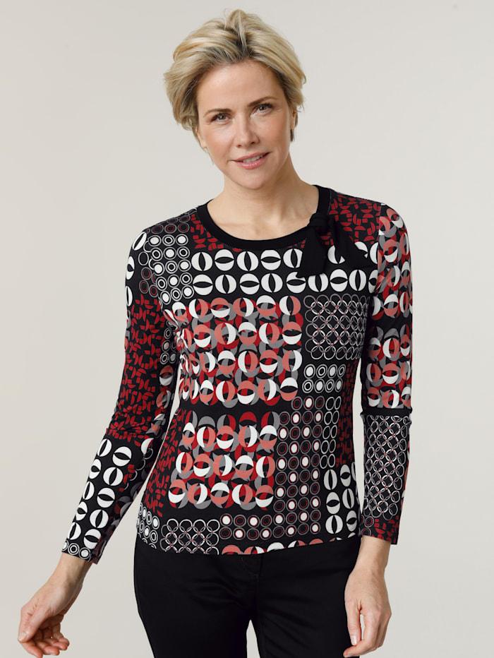 Barbara Lebek T-shirt à mix de motifs graphiques, Noir/Rouge