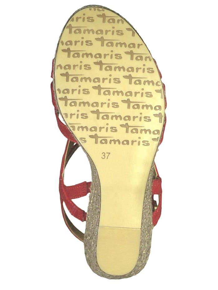 Tamaris 1-28372-22 515 Damen Lipstick Rot Wedge Platform Sandals Sandaletten, Lipstick