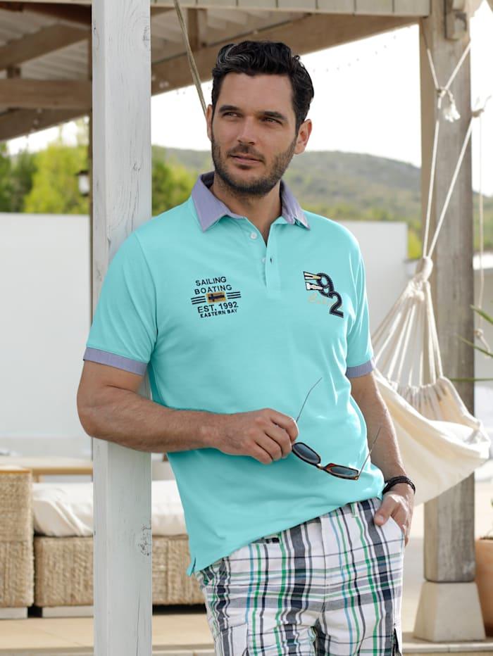 BABISTA Poloshirt met dubbele kraag, Turquoise