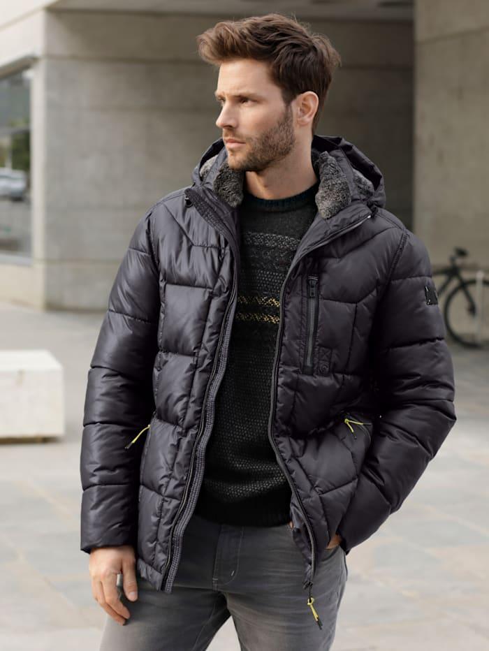BABISTA Gewatteerde jas met afneembare capuchon, Zwart
