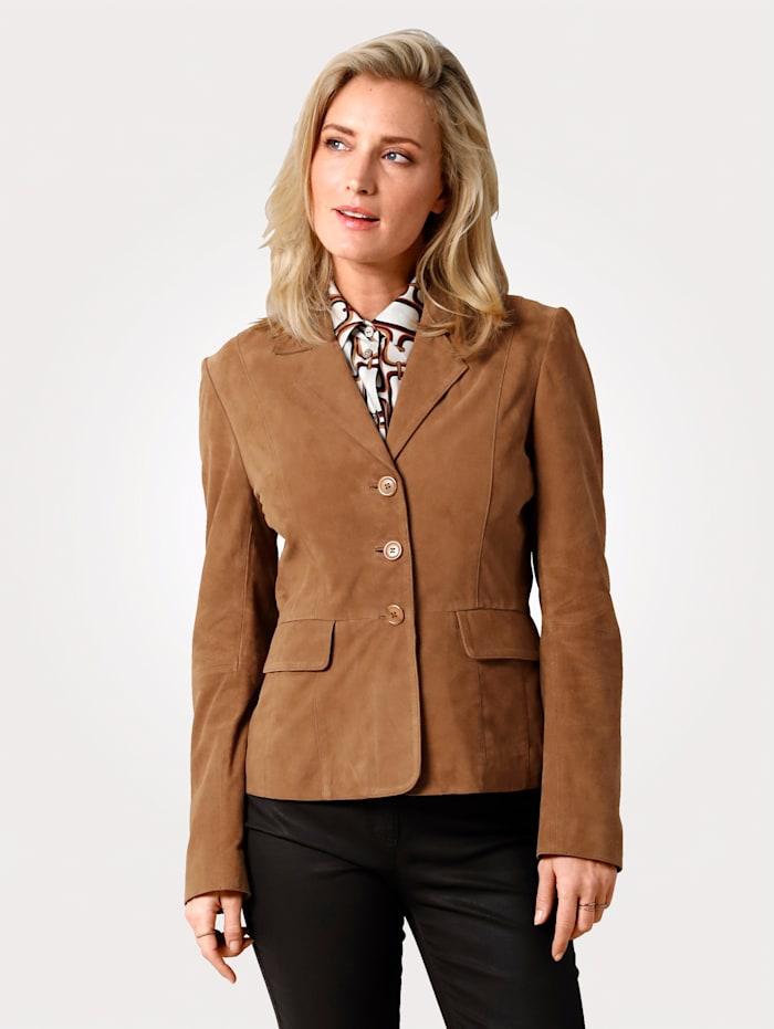 MONA Leather jacket in a classic design, Hazelnut