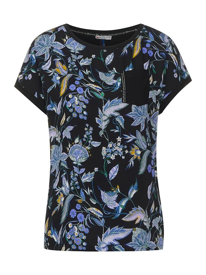 Street One T-Shirt mit Blumen Print, Black