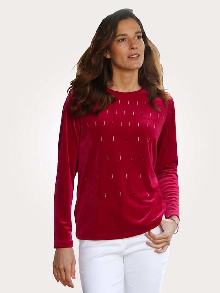 MONA Samtshirt mit platzierten Strasssteinchen, Rot