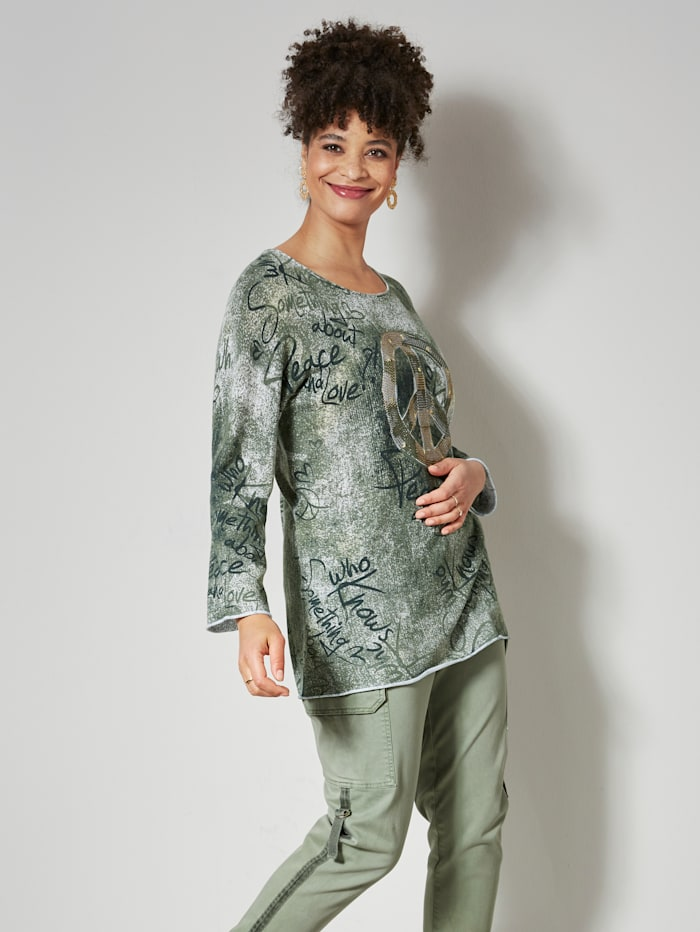 Angel of Style Pullover allover mit Print, Oliv