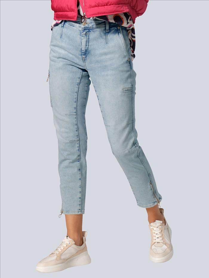 MAC Jeans mit dekorativen Reißverschlüssen, Blue bleached