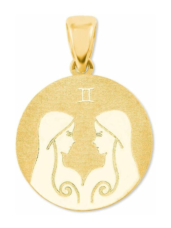 amor Anhänger Unisex Sternzeichen Zwillinge rund 375 Gold teilmattiert, Gold