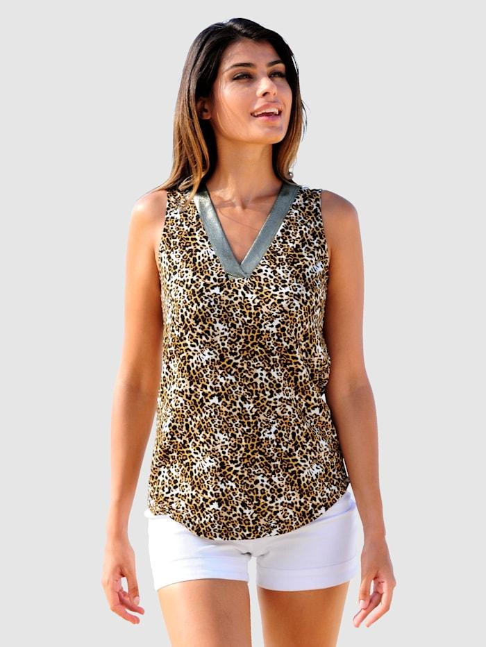 Alba Moda Shirttop mit Leo-Muster, Beige-Braun