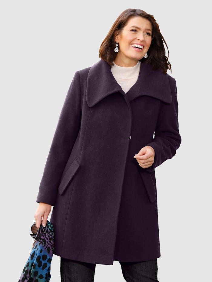 m. collection Vlnený kabát s moderným ležatým golierom, Baklažánová