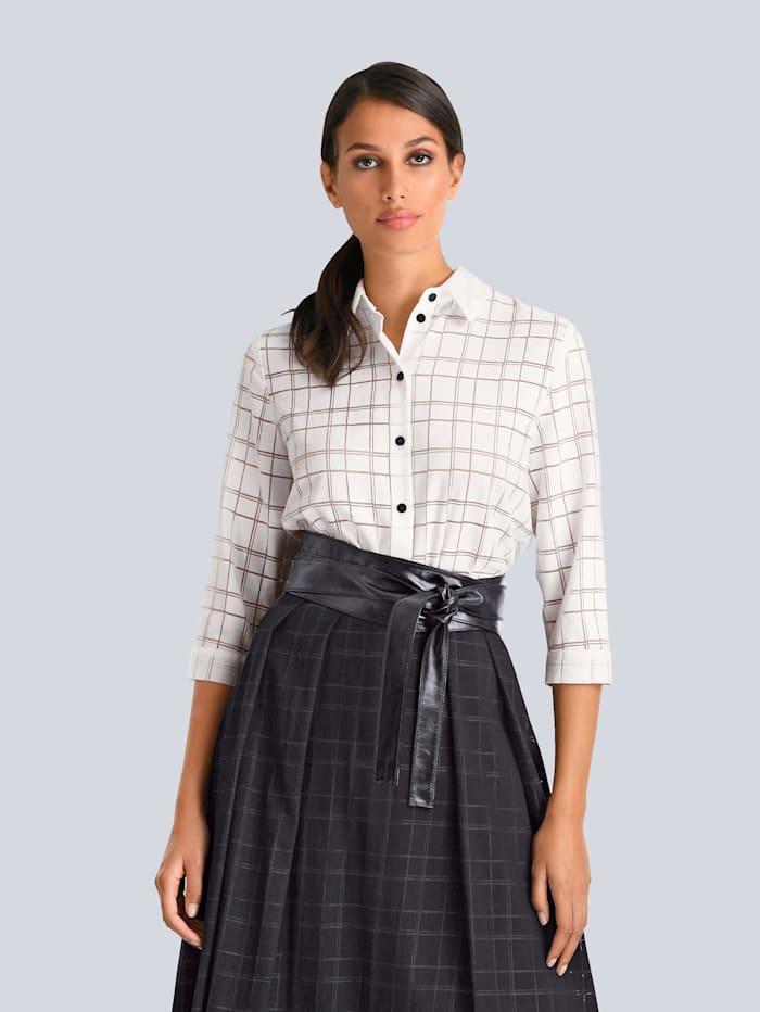 Alba Moda Bluse mit modischem Ausbrenner, Off-white