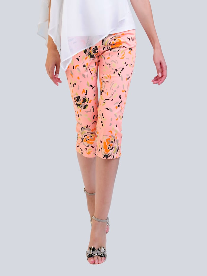 Alba Moda Capribukse med trykt mønster, Rosa/Oransje/Hvit