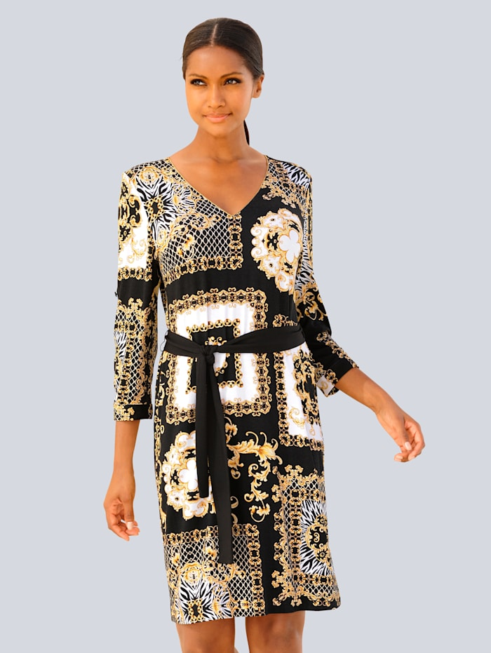 Alba Moda Strandkleid mit Goldakzenten, Schwarz-Gold