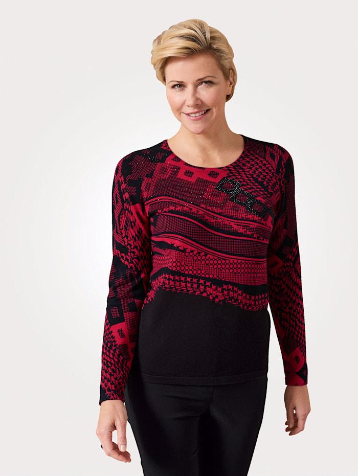 MONA Pullover mit grafischem Druck, Schwarz/Rot