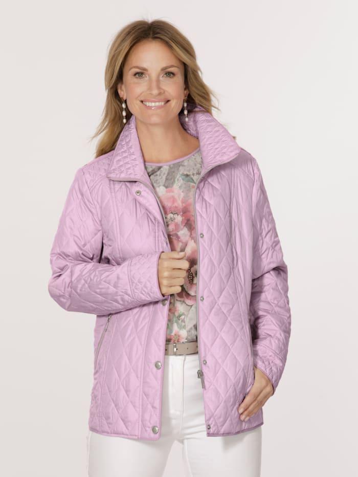 MONA Gewatteerde jas met minimaldessin, Berry/Wit