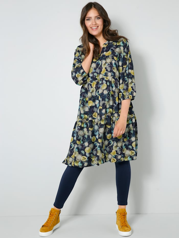 Janet & Joyce Web-Kleid mit farbharmonischem Druck, Marineblau/Goldfarben/Multicolor