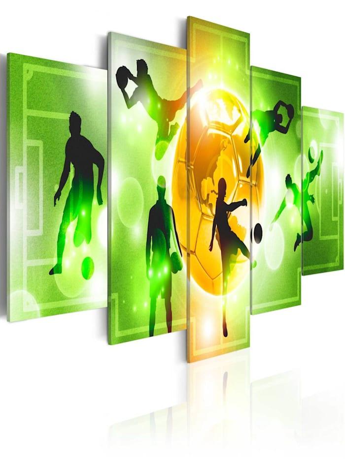 artgeist Wandbild I Love Soccer, Grün,Schwarz,Orange,Weiß