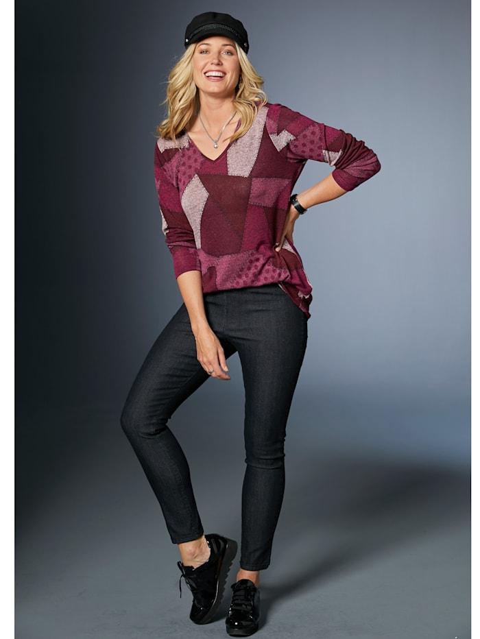 MIAMODA Pullover mit trendigem Patchdruck, Pink