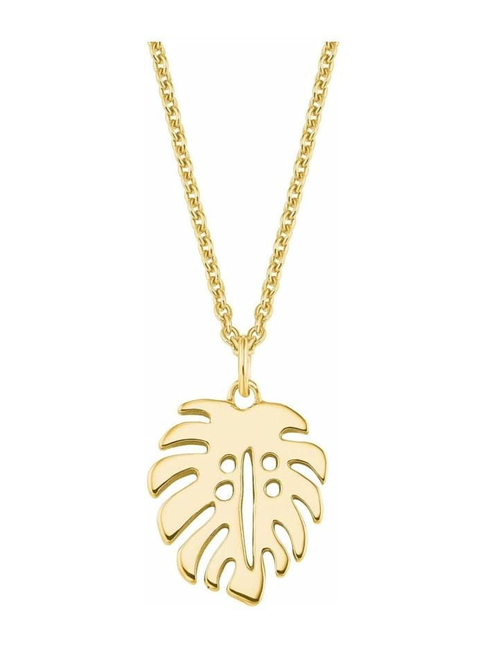s.Oliver Halskette für Damen, Sterling Silber 925, Blatt, Gold