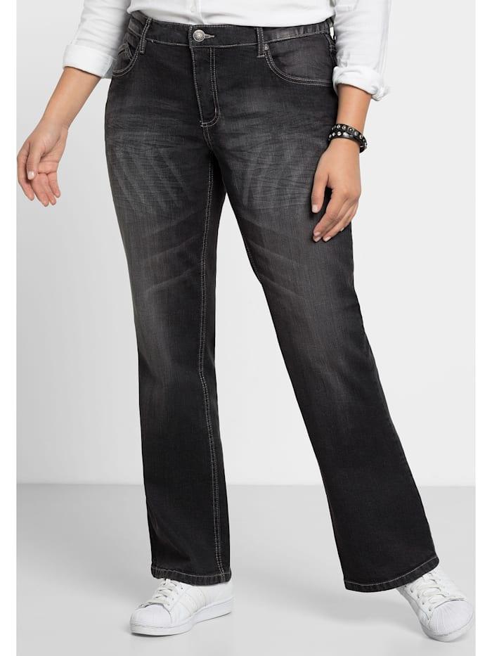 Sheego Jeans Individuelle Used-Effekte, black Denim