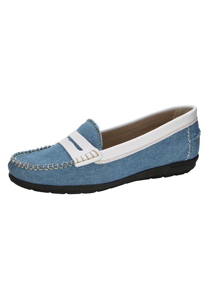 Naturläufer Mokassin in modischem Jeans-Look, Hellblau