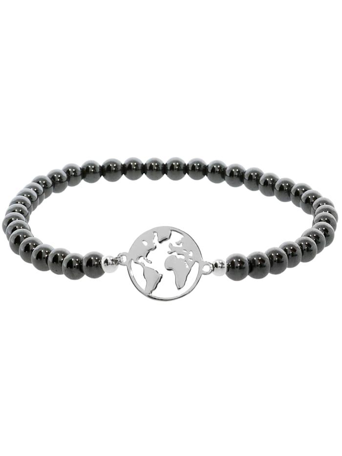 1001 Diamonds Weltkugel Hämatit Armband 925 Silber 17 cm, grau