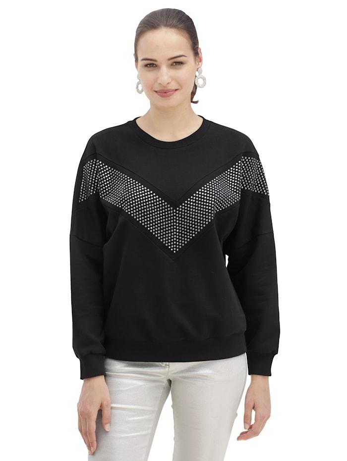 AMY VERMONT Sweatshirt mit Applikationen vorne, Schwarz