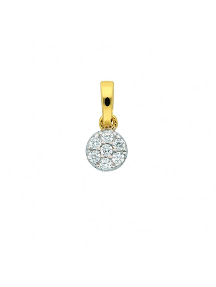 1001 Diamonds Damen Goldschmuck 333 Gold Anhänger mit Zirkonia Ø 4,8 mm, gold