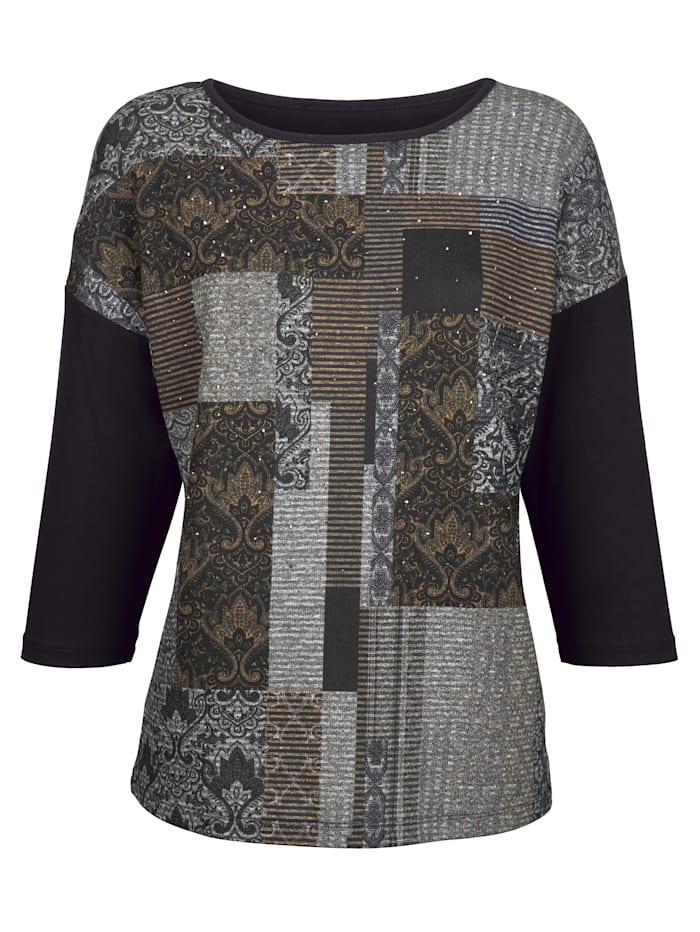 Shirt van een materialenmix