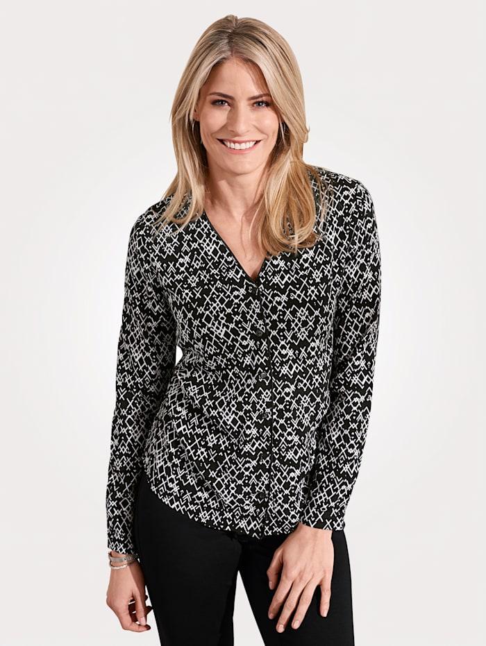 MONA Bluse mit grafischem Dessin, Schwarz/Weiß