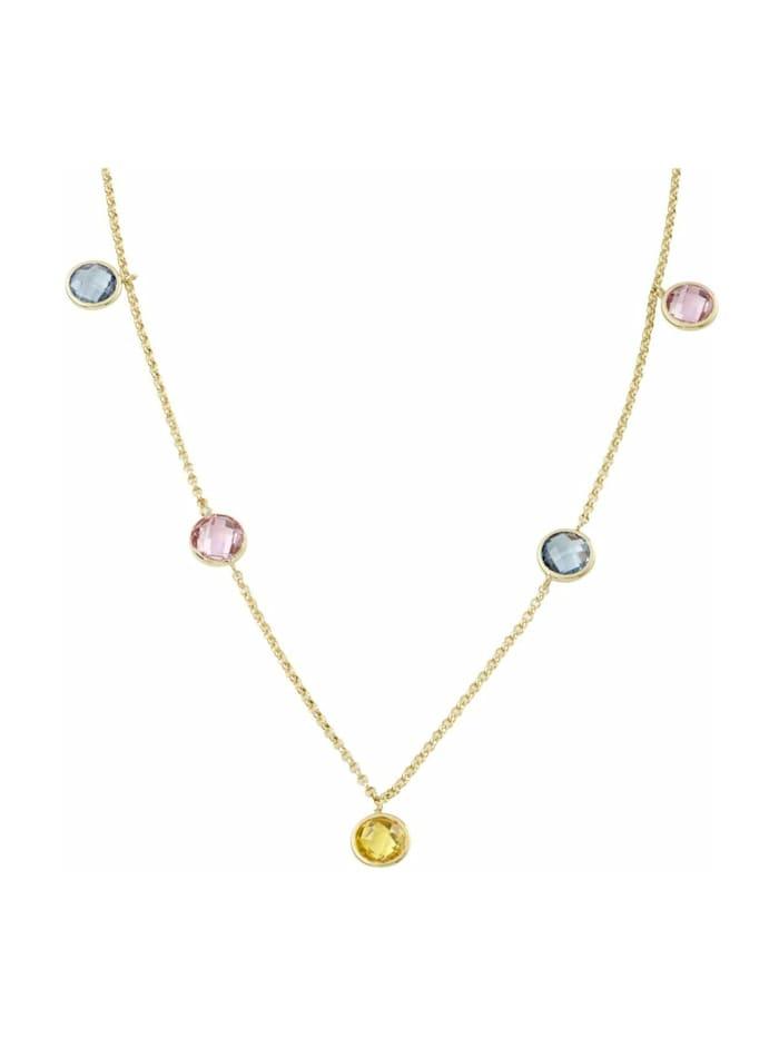 amor Collier für Damen, Gold 375, Zirkonia Fantasie, gelb