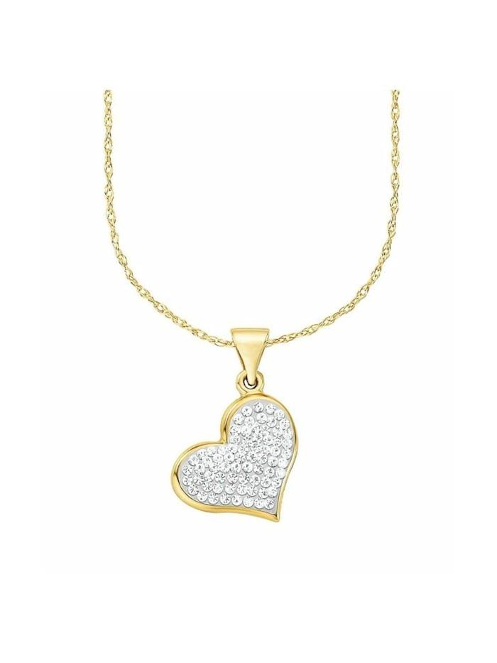 amor Kette mit Anhänger für Damen, Gold 375, Kristallglas Herz, Gold