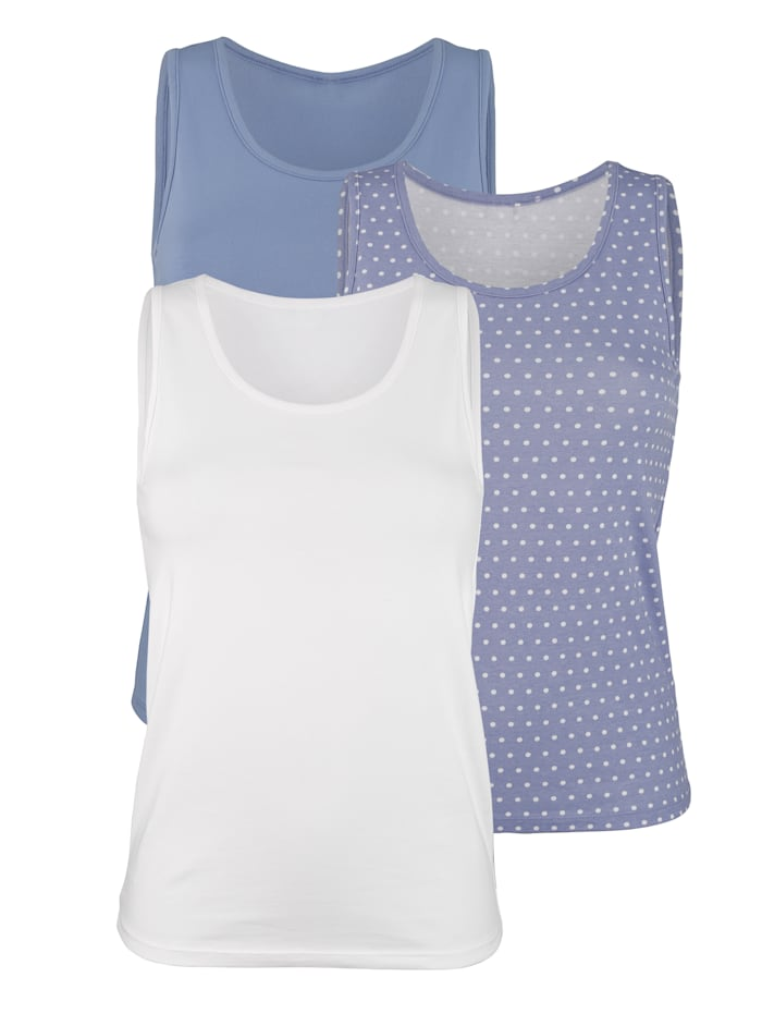 Harmony Achselhemden, Blau/Weiß