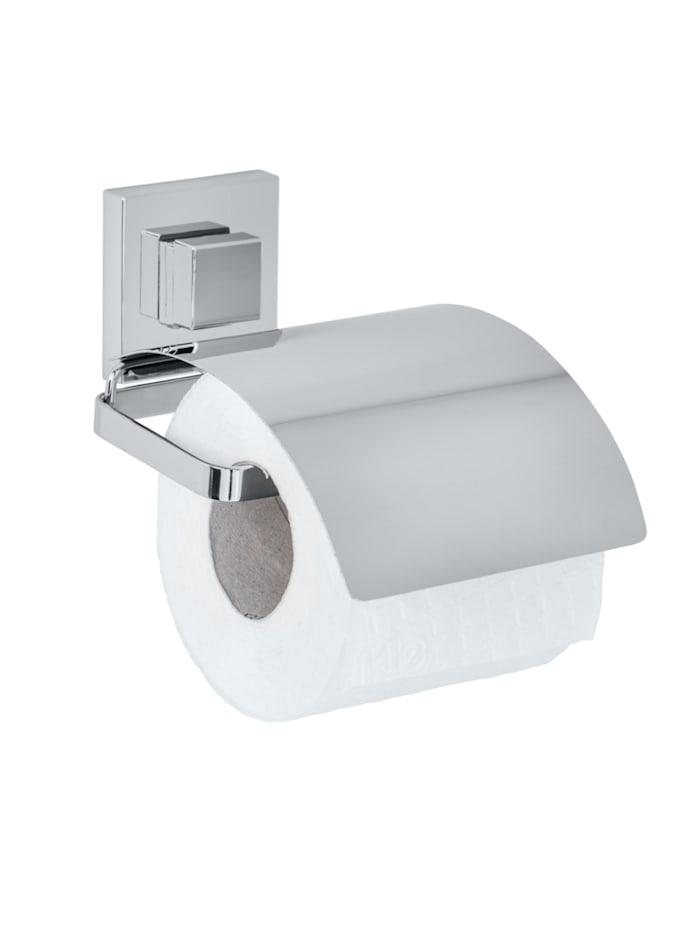 Wenko Vacuum-Loc® Toilettenpapierhalter Cover Quadro Edelstahl, Befestigen ohne bohren, Glänzend, Loc: Chrom