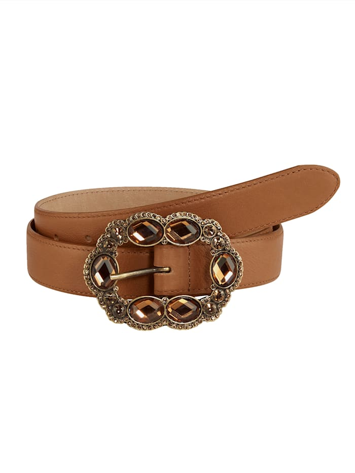 MONA Leather belt, Cognac
