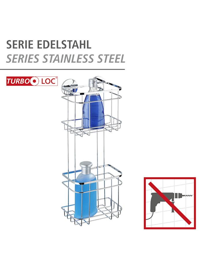 Turbo-Loc® Edelstahl Wandregal 2 Etagen, rostfrei, Befestigen ohne bohren