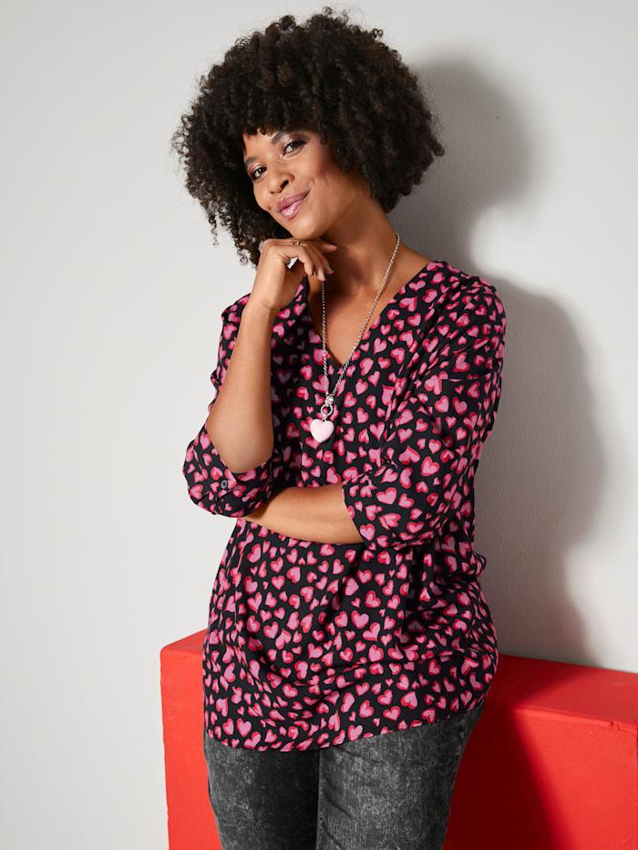 Angel of Style Tunikabluse aus reiner Viskosequalität, Schwarz/Rot/Pink
