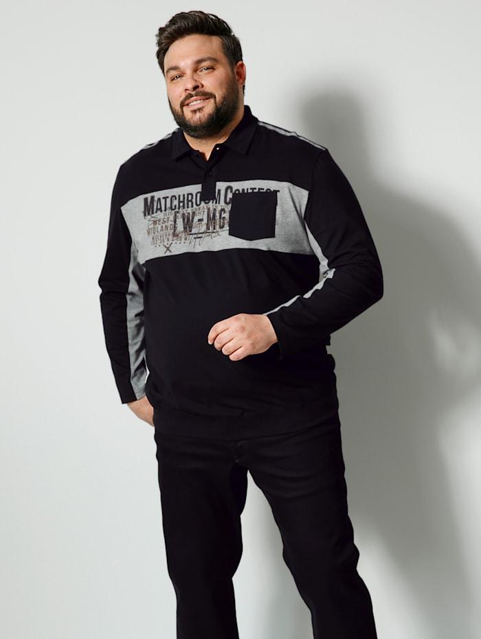 Men Plus Poloshirt Spezialschnitt, Schwarz/Grau