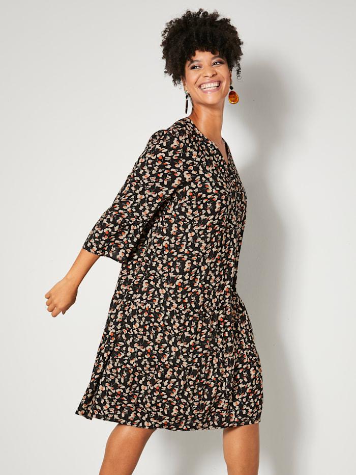 Angel of Style Volankisomisteinen mekko, Musta/Oliivi/Terrakotta