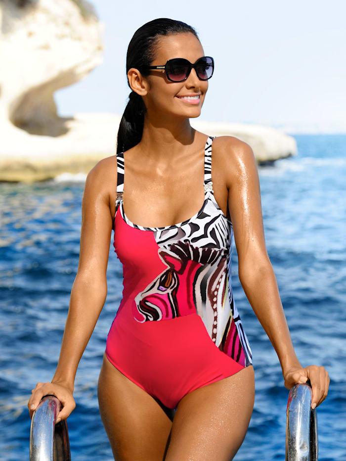Féraud Badeanzug mit Zebradruck, Schwarz