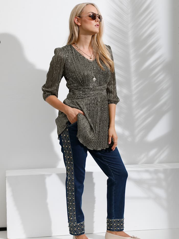 Jeans met kraaltjesborduursel