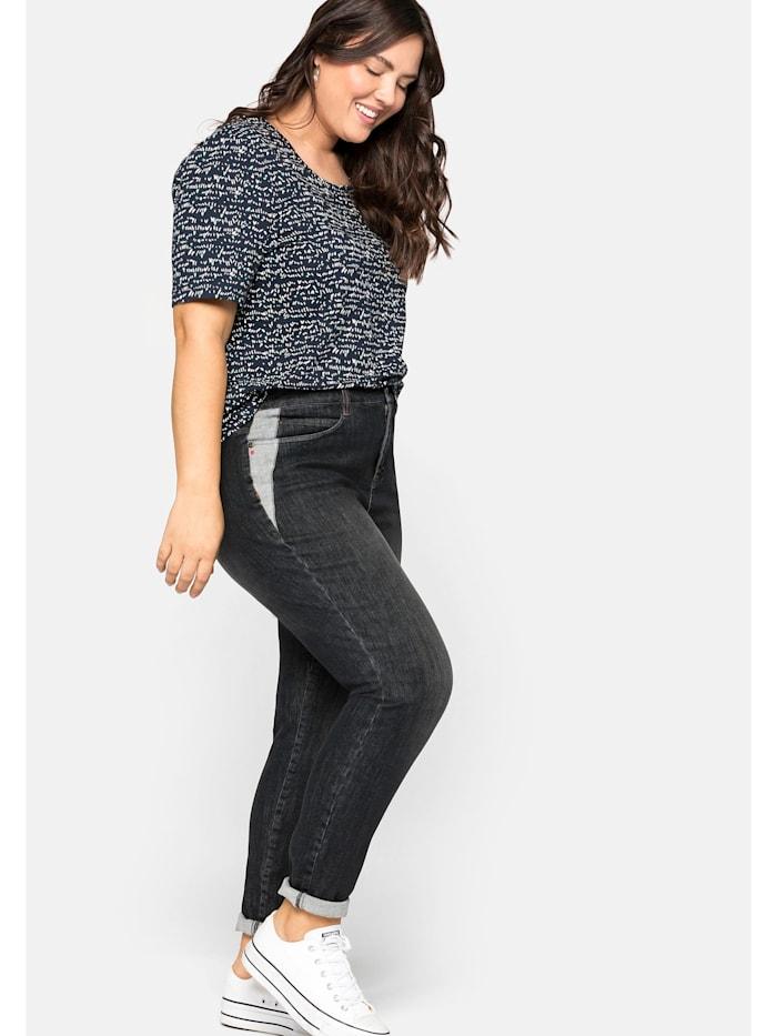 Sheego Jeans Slim fit Jeans in extrem dehnbarer Qualität, black Denim