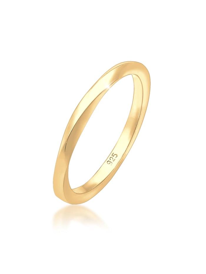 Elli Ring Basic Bandring Gedreht Klassisch Trend 925 Silber, Gold