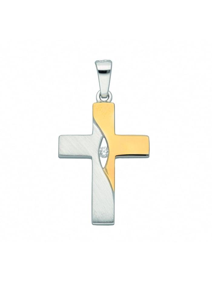 1001 Diamonds 1001 Diamonds Damen & Herren Silberschmuck 925 Silber Kreuz Anhänger mit Zirkonia, silber
