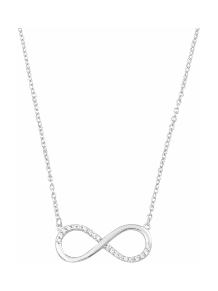 amor Kette mit Anhänger für Damen, Weißgold 375, Zirkonia Infinity, Silber