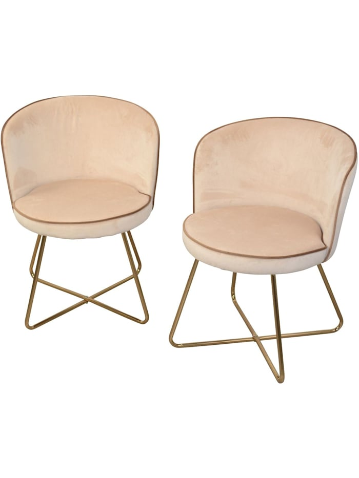 Möbel-Direkt-Online Samt-Polsterstuhl (2Stück) Nicki, beige