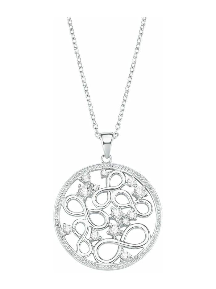 amor Kette mit Anhänger für Damen, Sterling Silber 925, Zirkonia Infinity, Silber