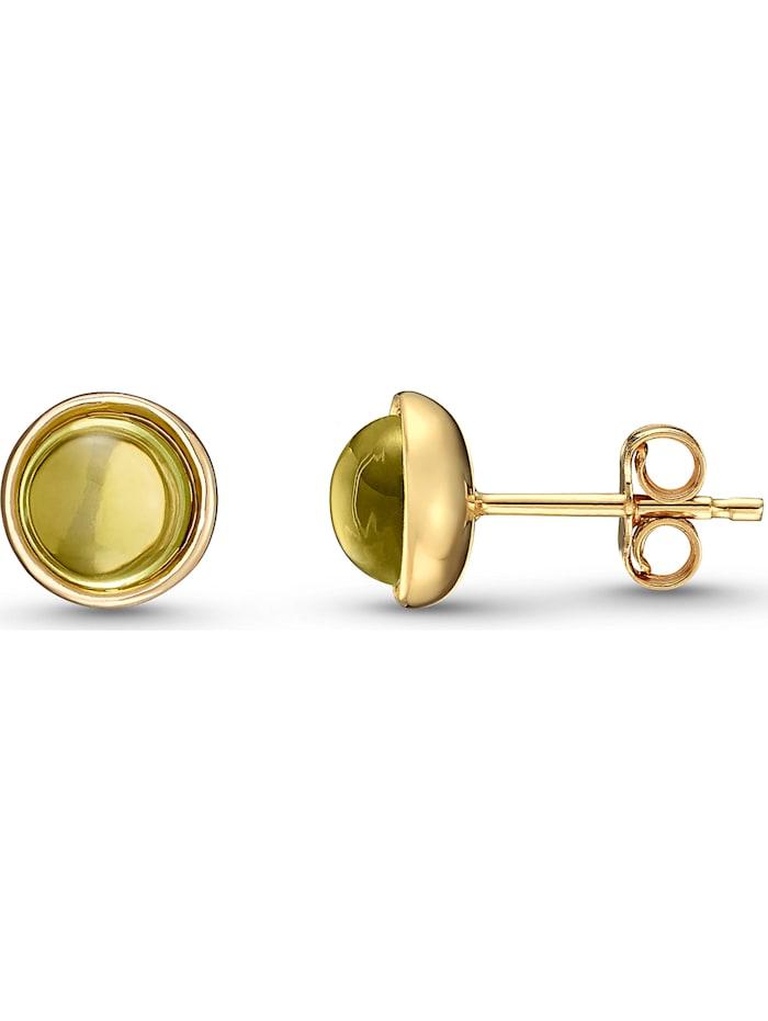 CHRIST Damen-Ohrstecker 375er Gelbgold Peridot