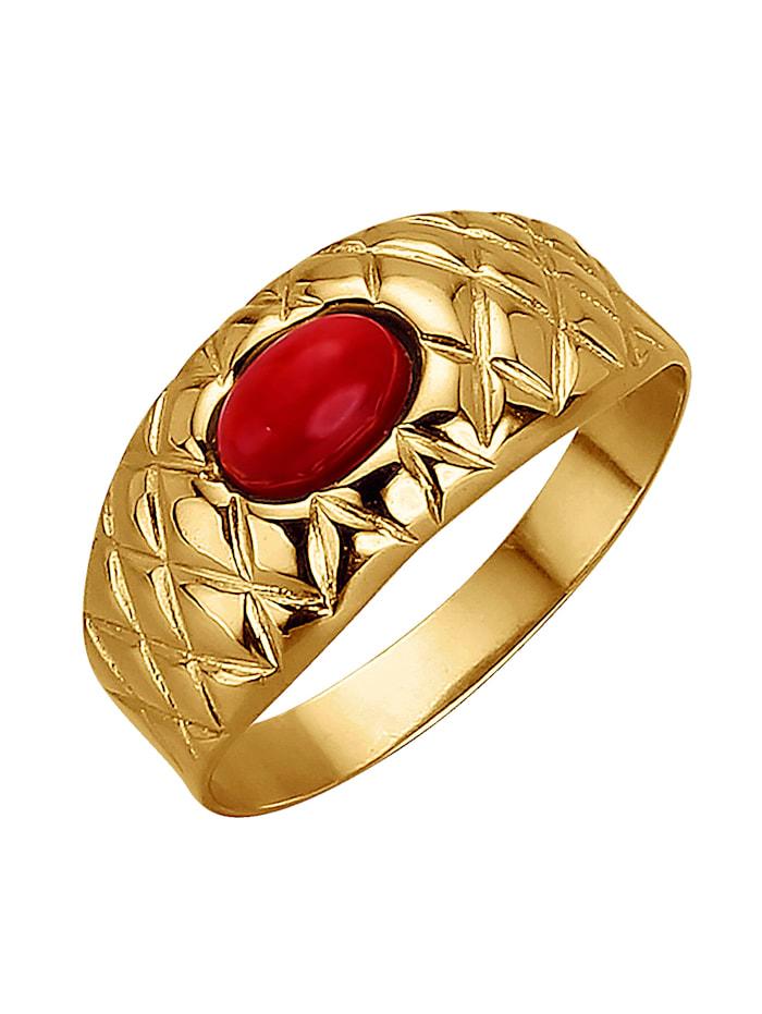 Damenring mit Koralle (beh.), Rot