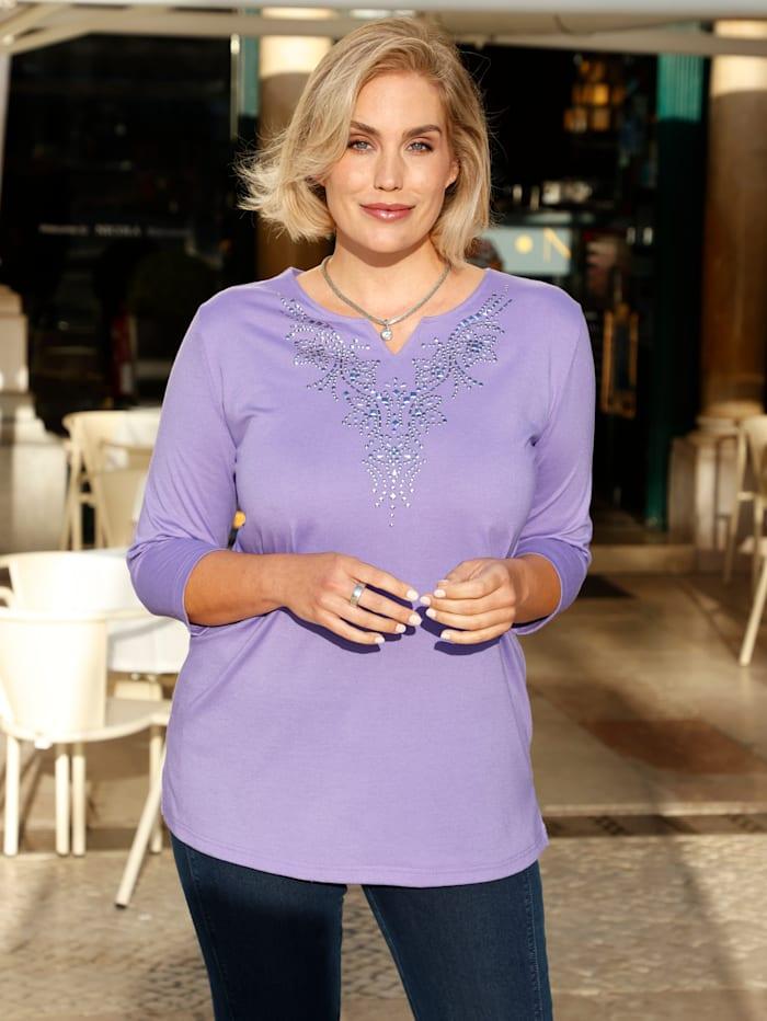m. collection Shirt mit dekorativen Plättchen, Flieder